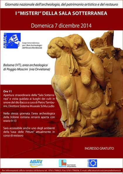 """I """"MISTERI"""" DELLA SALA SOTTERRANEA - Domenica 7 dicembre 2014 - Giornata nazionale dell'archeologia, del patrimonio artistico e del restauro"""